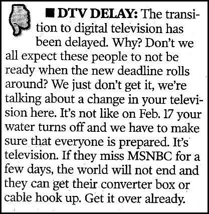 US&J Gave DTV Delay Thumbs Down