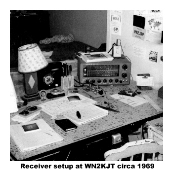 The Lafayette HE-30 receiver on an old kitchen table I used as a desk