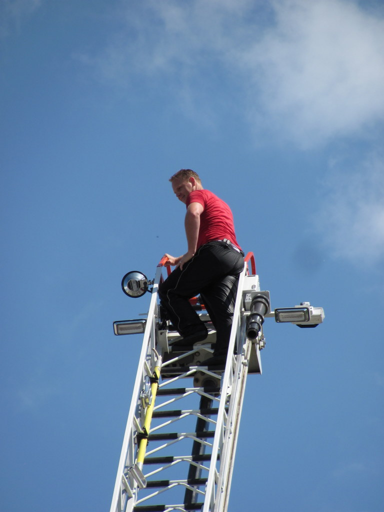 Wallenda on fire truck
