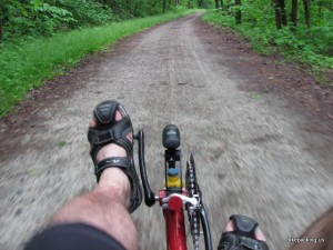 The view on a recumbent - much better than looking at the ground on a Diamond Frame bike.