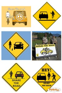 Six signs showing incorrect interpretations of Share The Road